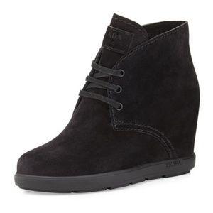 Prada, Suede Desert Wedge Boot, Black, 7.5